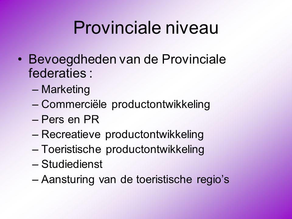 Provinciale niveau Bevoegdheden van de Provinciale federaties :