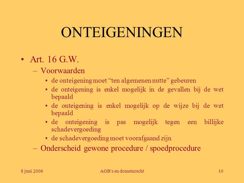 ONTEIGENINGEN Art. 16 G.W. Voorwaarden