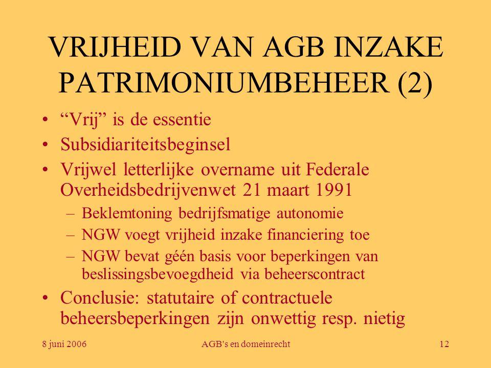 VRIJHEID VAN AGB INZAKE PATRIMONIUMBEHEER (2)