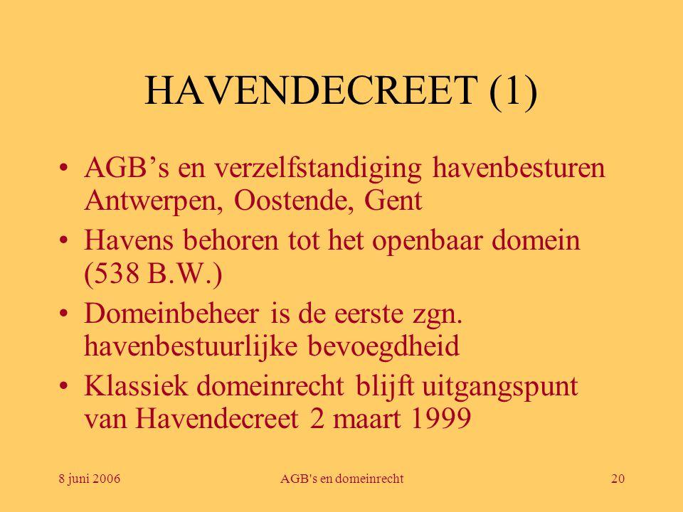 HAVENDECREET (1) AGB's en verzelfstandiging havenbesturen Antwerpen, Oostende, Gent. Havens behoren tot het openbaar domein (538 B.W.)