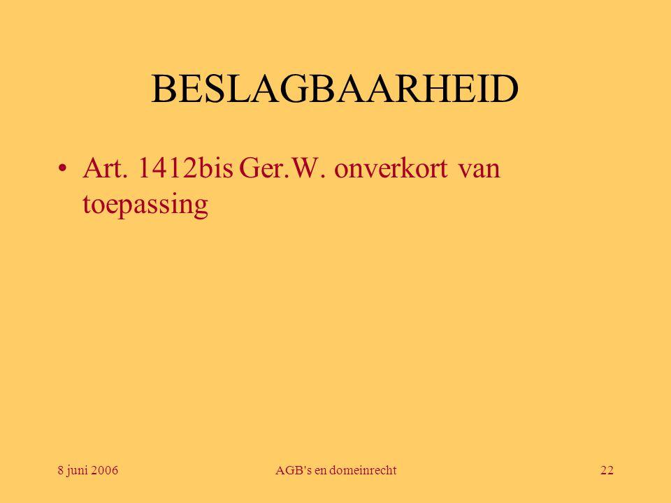 BESLAGBAARHEID Art. 1412bis Ger.W. onverkort van toepassing