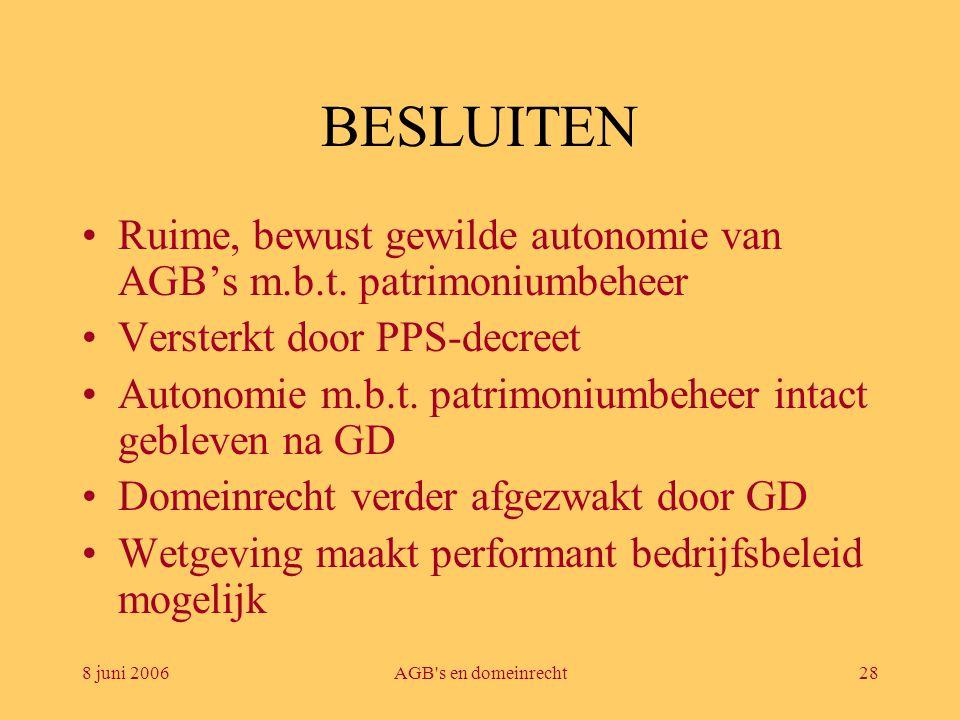 BESLUITEN Ruime, bewust gewilde autonomie van AGB's m.b.t. patrimoniumbeheer. Versterkt door PPS-decreet.