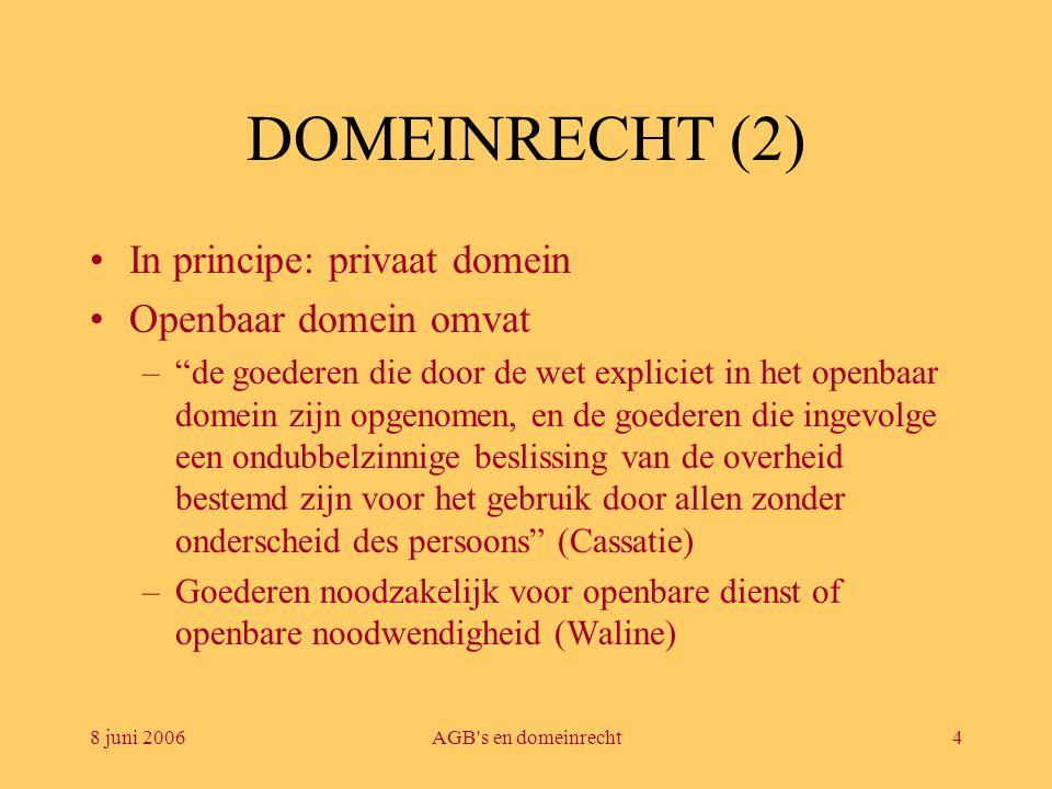 DOMEINRECHT (2) In principe: privaat domein Openbaar domein omvat