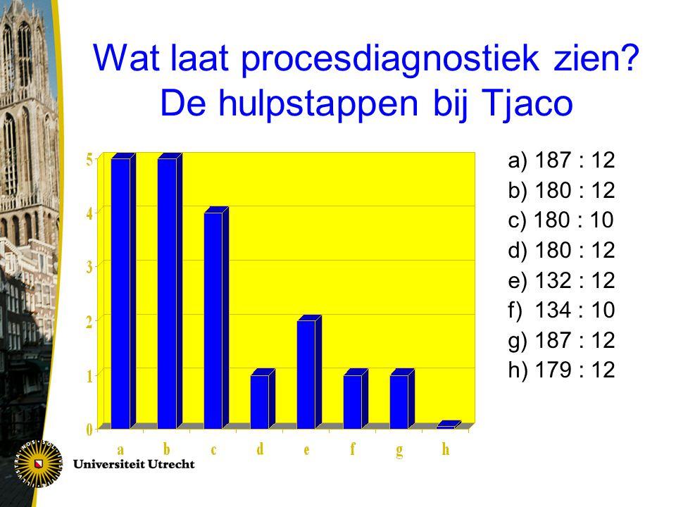 Wat laat procesdiagnostiek zien De hulpstappen bij Tjaco