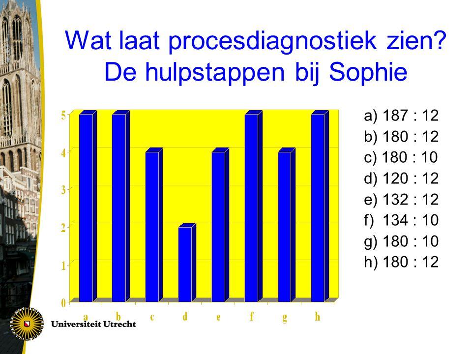 Wat laat procesdiagnostiek zien De hulpstappen bij Sophie