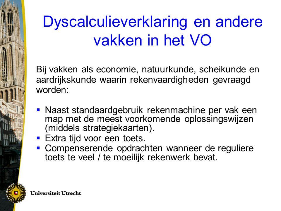 Dyscalculieverklaring en andere vakken in het VO