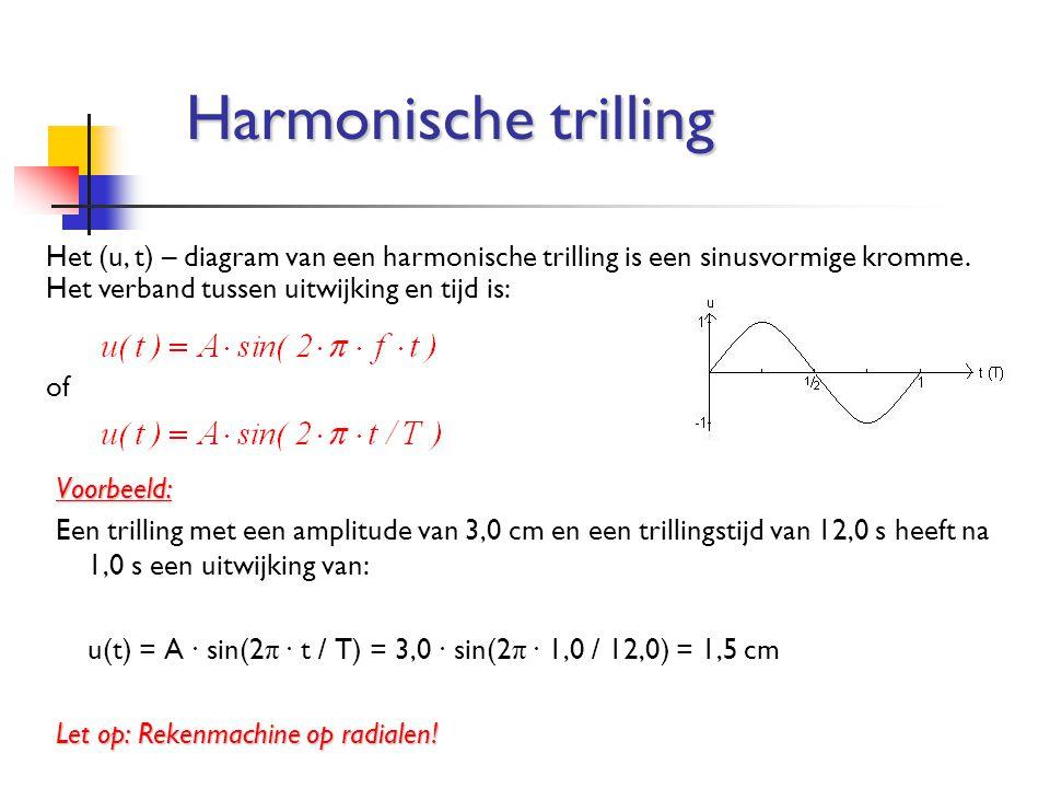 Harmonische trilling Het (u, t) – diagram van een harmonische trilling is een sinusvormige kromme. Het verband tussen uitwijking en tijd is: