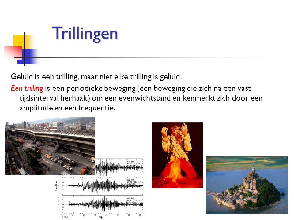 Trillingen Geluid is een trilling, maar niet elke trilling is geluid.