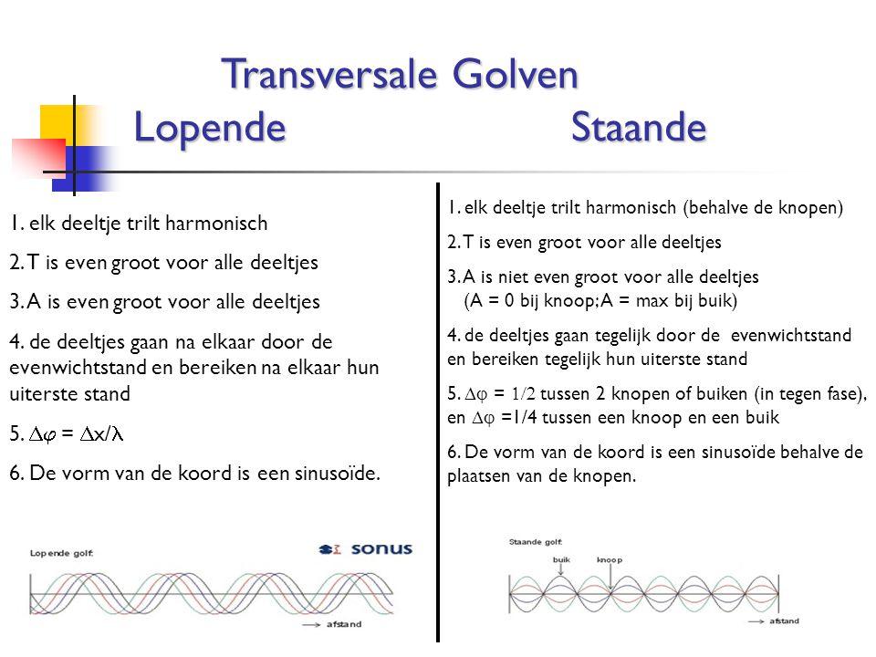 Transversale Golven Lopende Staande 1. elk deeltje trilt harmonisch