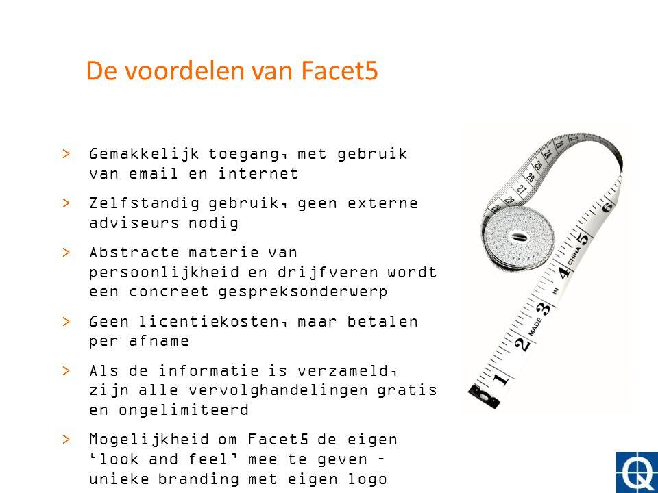 De voordelen van Facet5 Gemakkelijk toegang, met gebruik van email en internet. Zelfstandig gebruik, geen externe adviseurs nodig.