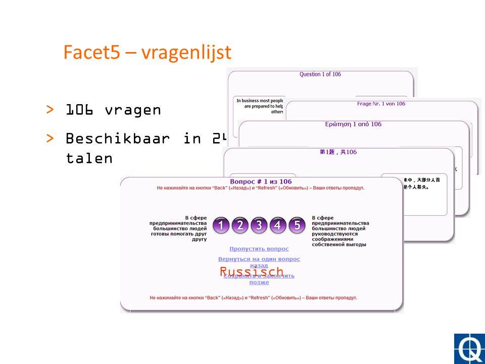 Facet5 – vragenlijst 106 vragen Beschikbaar in 24 talen Engels German