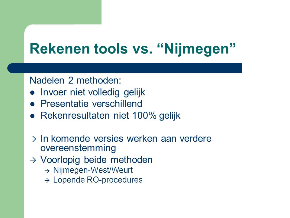 Rekenen tools vs. Nijmegen