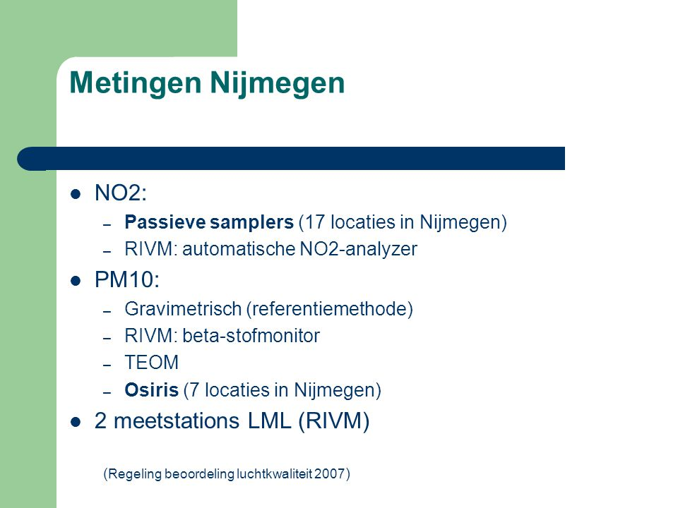 Metingen Nijmegen NO2: PM10: 2 meetstations LML (RIVM)