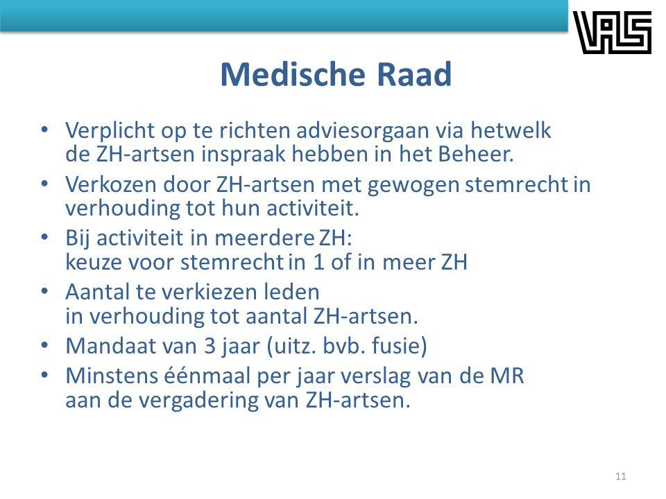 Medische Raad Verplicht op te richten adviesorgaan via hetwelk de ZH-artsen inspraak hebben in het Beheer.