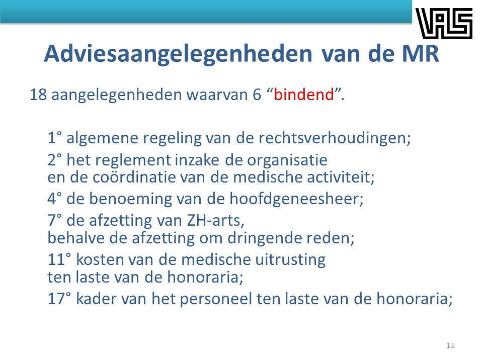 Adviesaangelegenheden van de MR