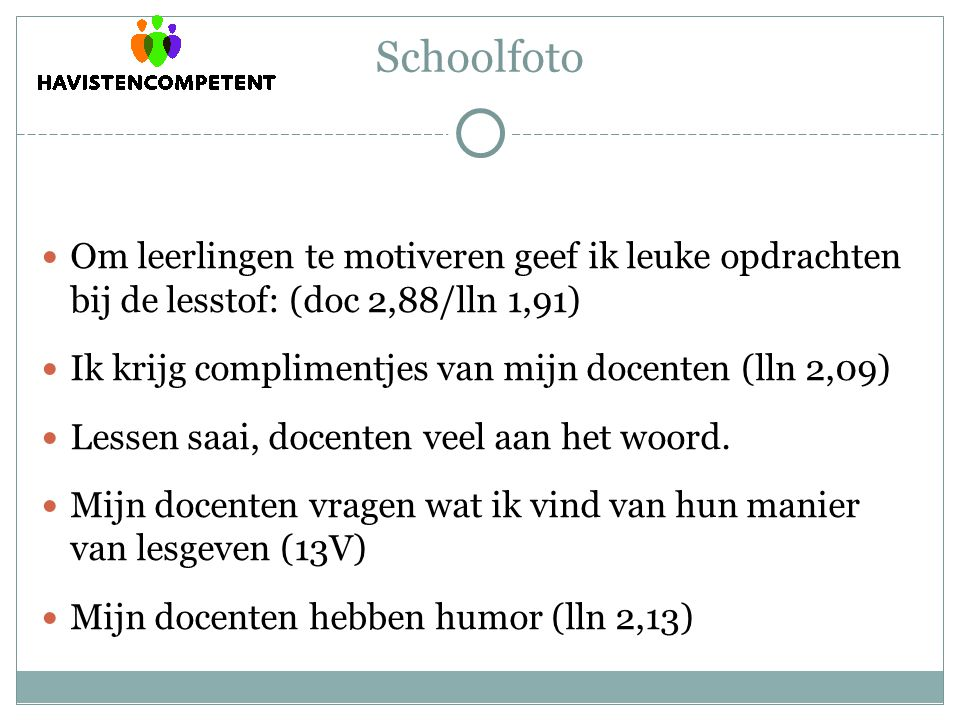 Schoolfoto Om leerlingen te motiveren geef ik leuke opdrachten bij de lesstof: (doc 2,88/lln 1,91)