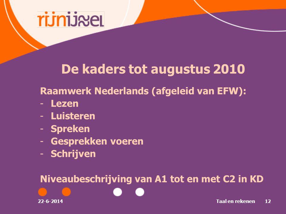 De kaders tot augustus 2010 Raamwerk Nederlands (afgeleid van EFW):
