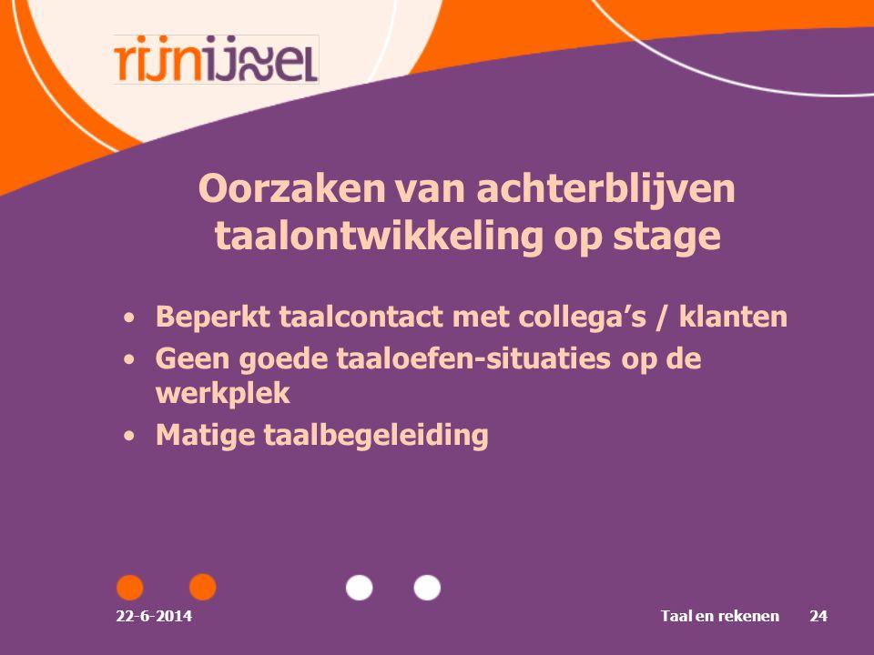 Oorzaken van achterblijven taalontwikkeling op stage