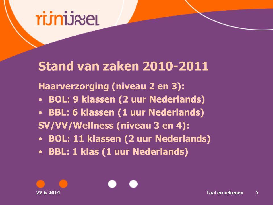 Stand van zaken 2010-2011 Haarverzorging (niveau 2 en 3):