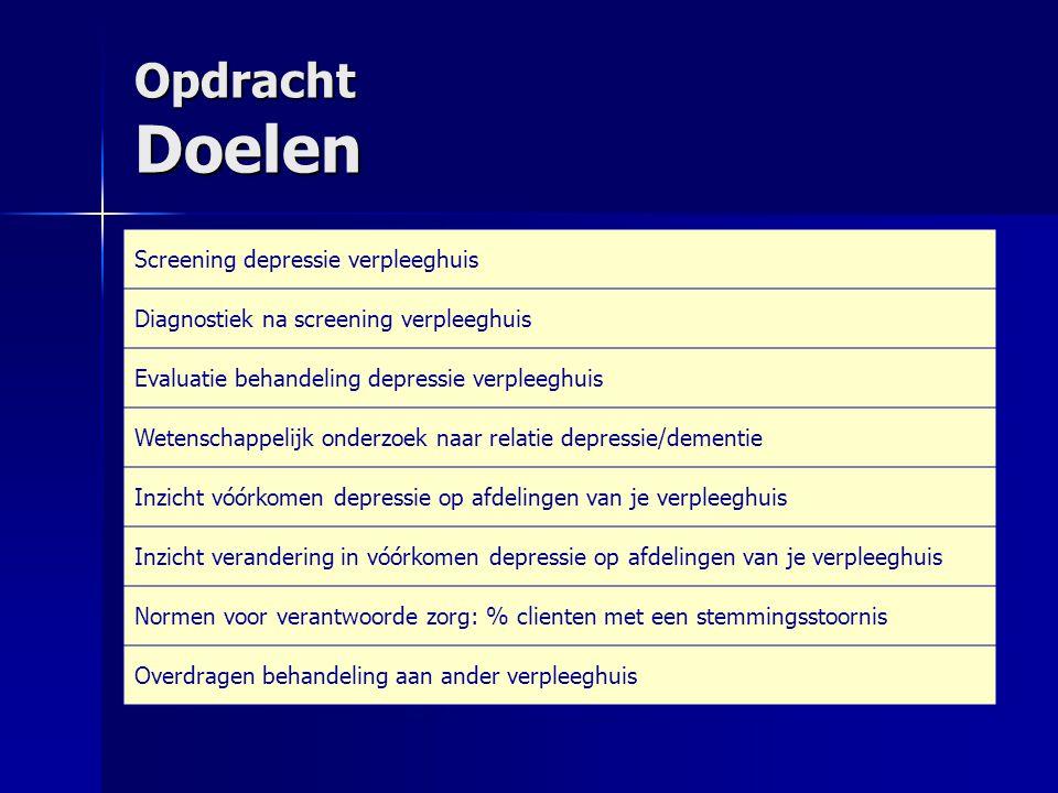 Opdracht Doelen Screening depressie verpleeghuis