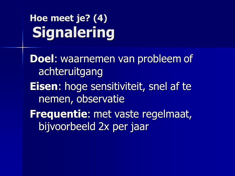 Hoe meet je (4) Signalering