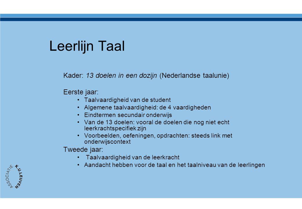 Leerlijn Taal Kader: 13 doelen in een dozijn (Nederlandse taalunie)