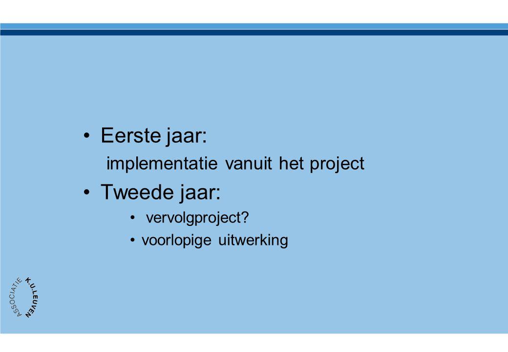 Eerste jaar: Tweede jaar: implementatie vanuit het project