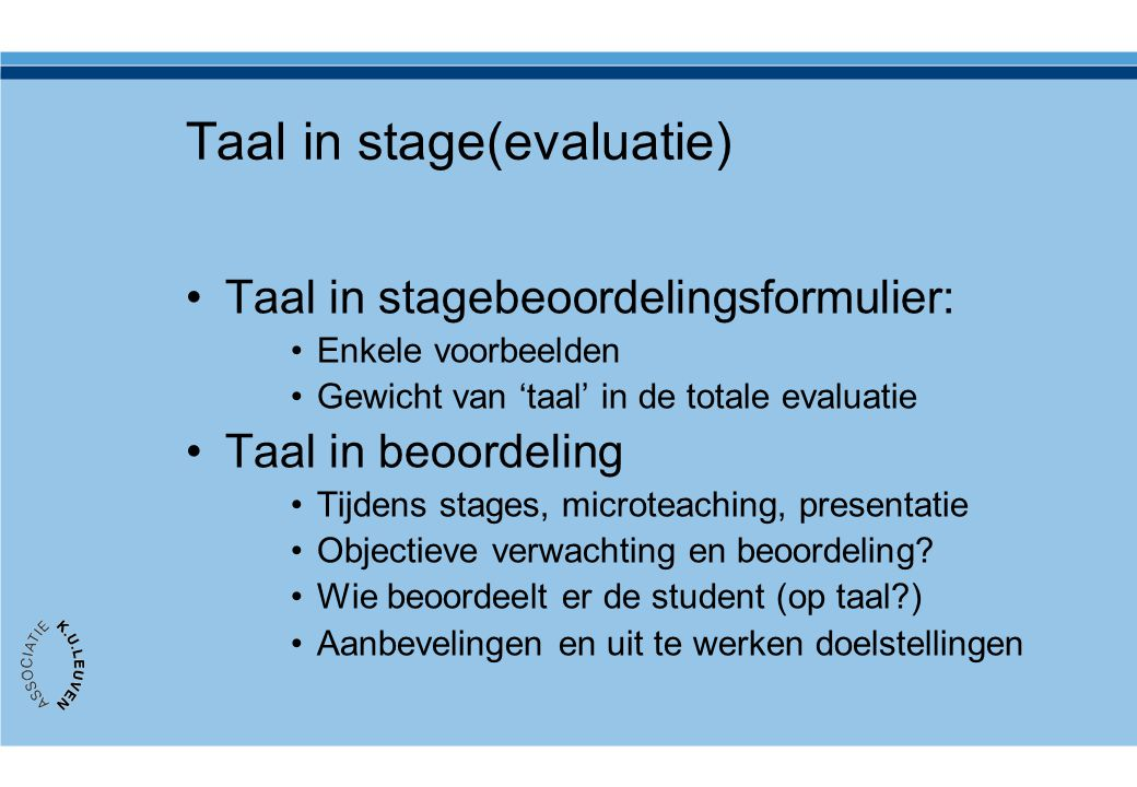 Taal in stage(evaluatie)