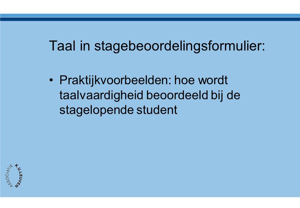 Taal in stagebeoordelingsformulier: