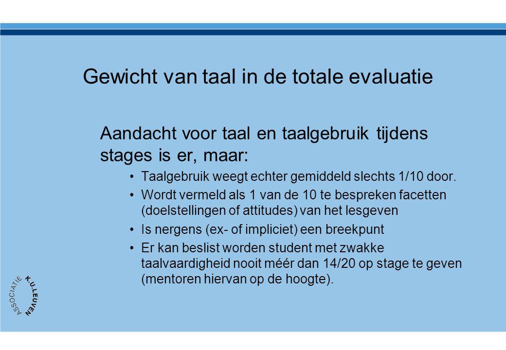 Gewicht van taal in de totale evaluatie