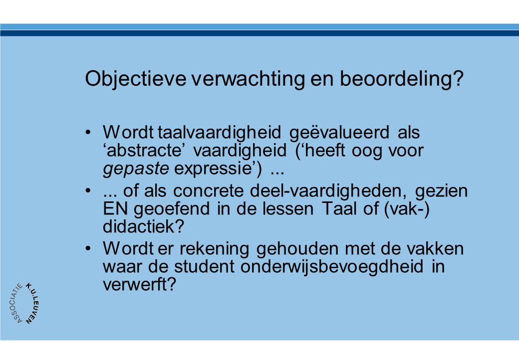 Objectieve verwachting en beoordeling