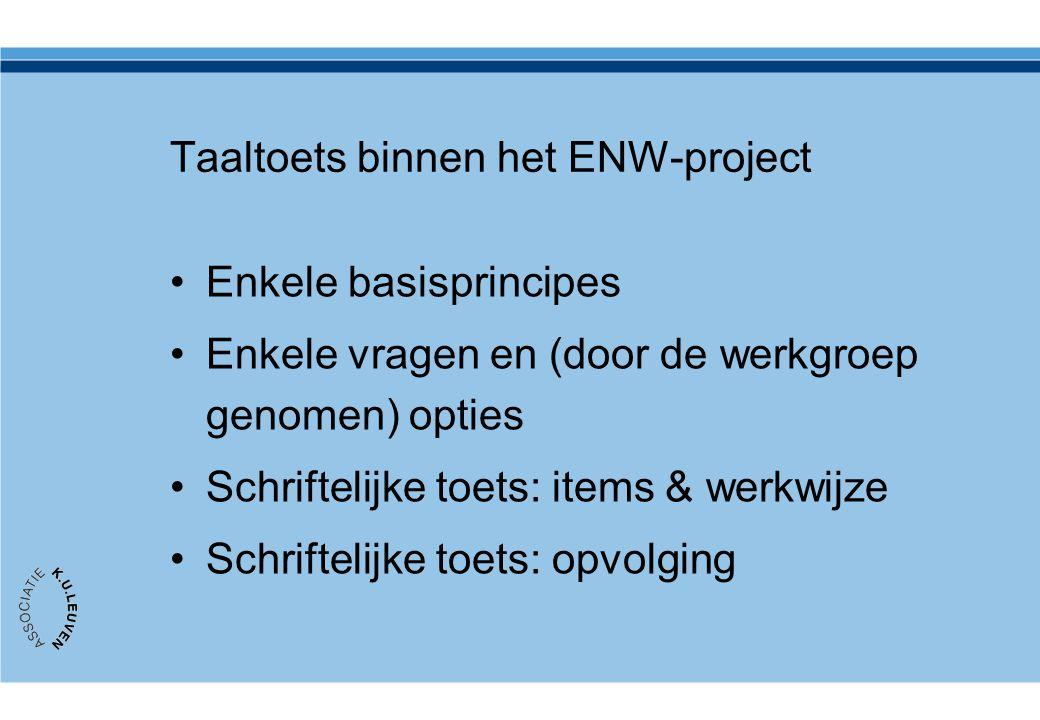Taaltoets binnen het ENW-project