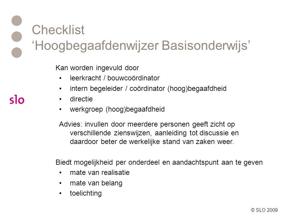 Checklist 'Hoogbegaafdenwijzer Basisonderwijs'