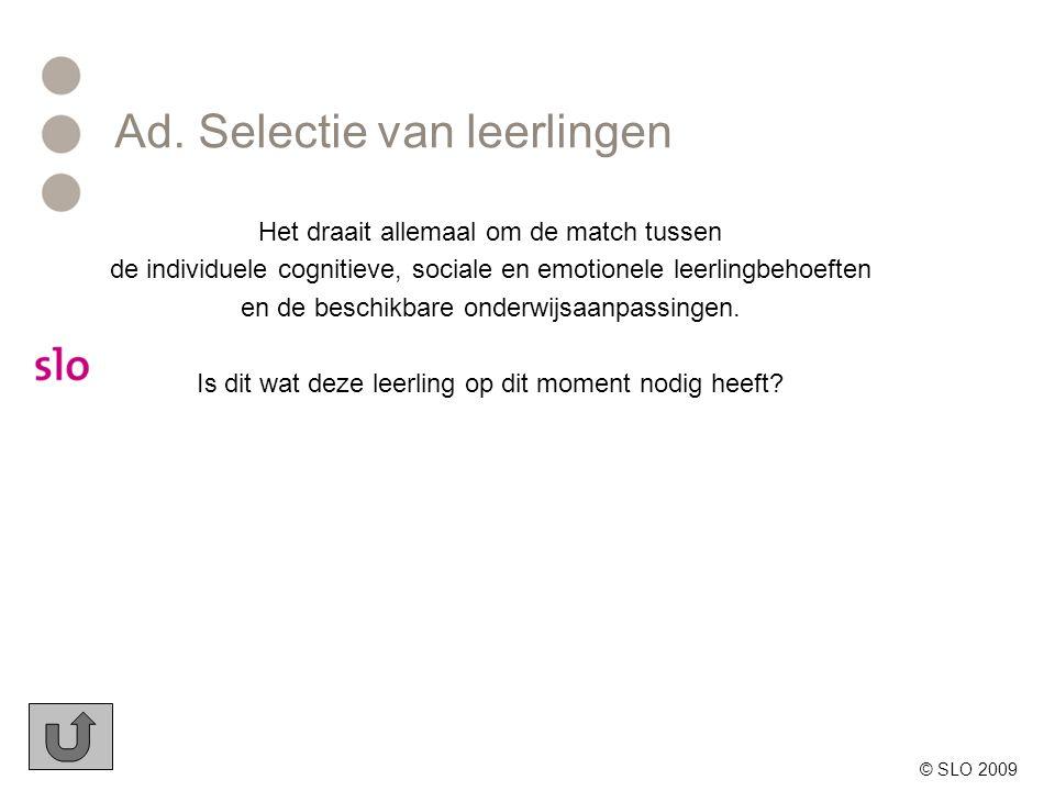 Ad. Selectie van leerlingen