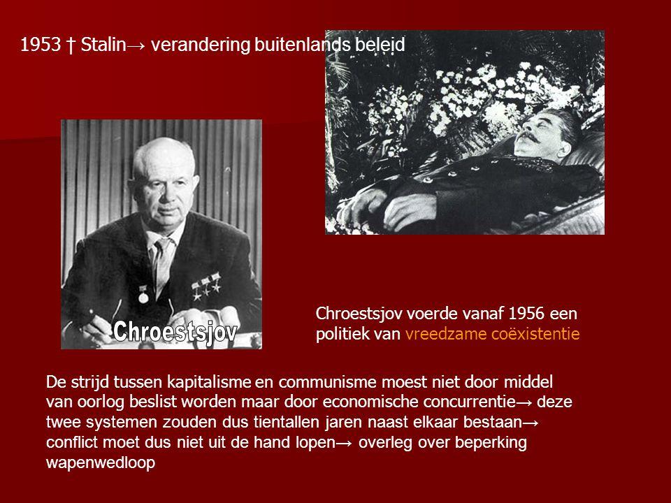 1953 † Stalin→ verandering buitenlands beleid