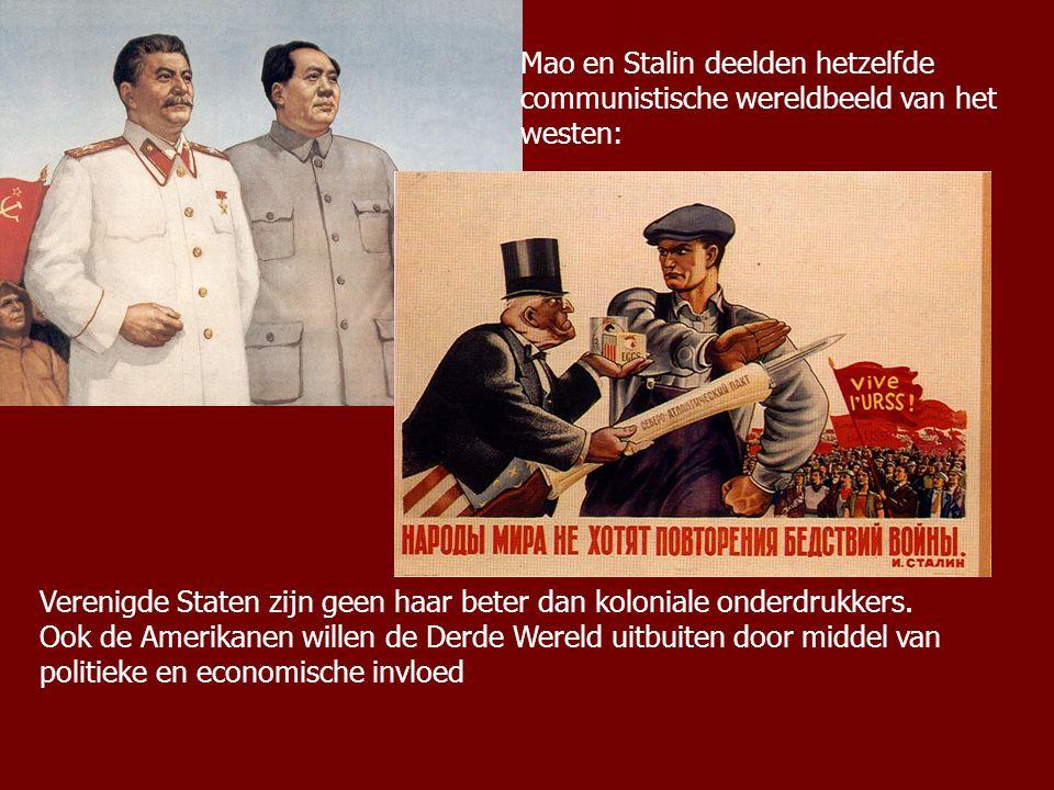Mao en Stalin deelden hetzelfde communistische wereldbeeld van het westen: