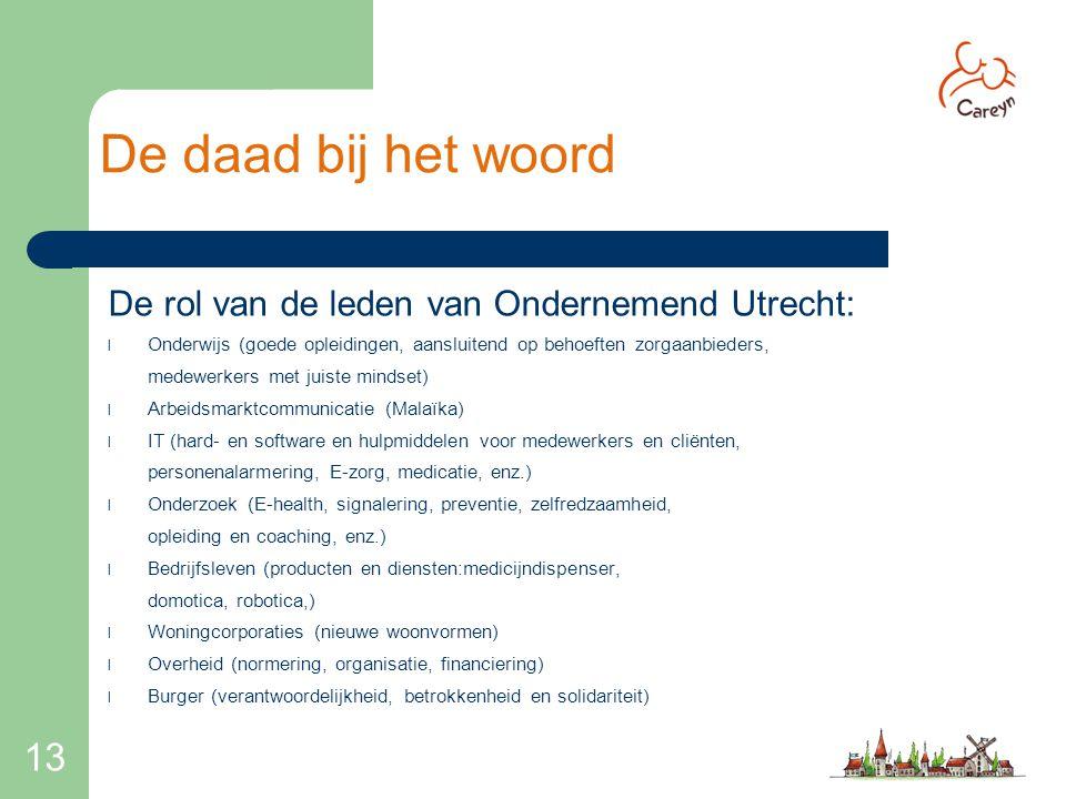 De daad bij het woord 13 De rol van de leden van Ondernemend Utrecht: