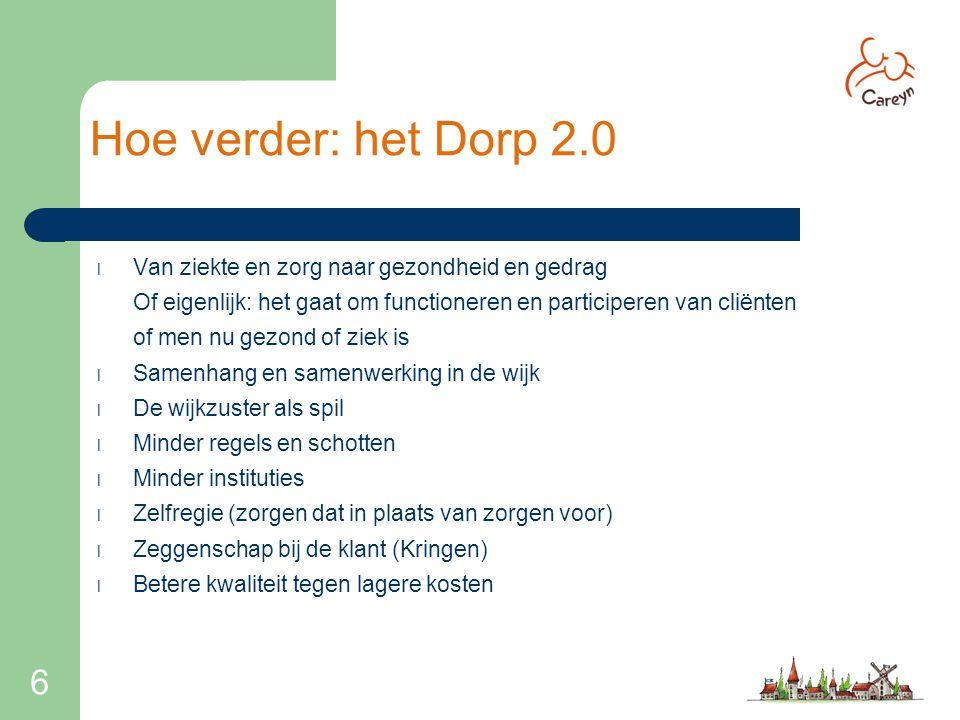 Hoe verder: het Dorp 2.0 Van ziekte en zorg naar gezondheid en gedrag. Of eigenlijk: het gaat om functioneren en participeren van cliënten.