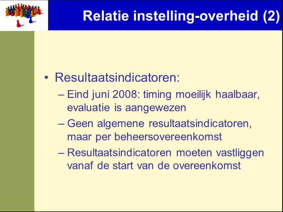 Relatie instelling-overheid (2)