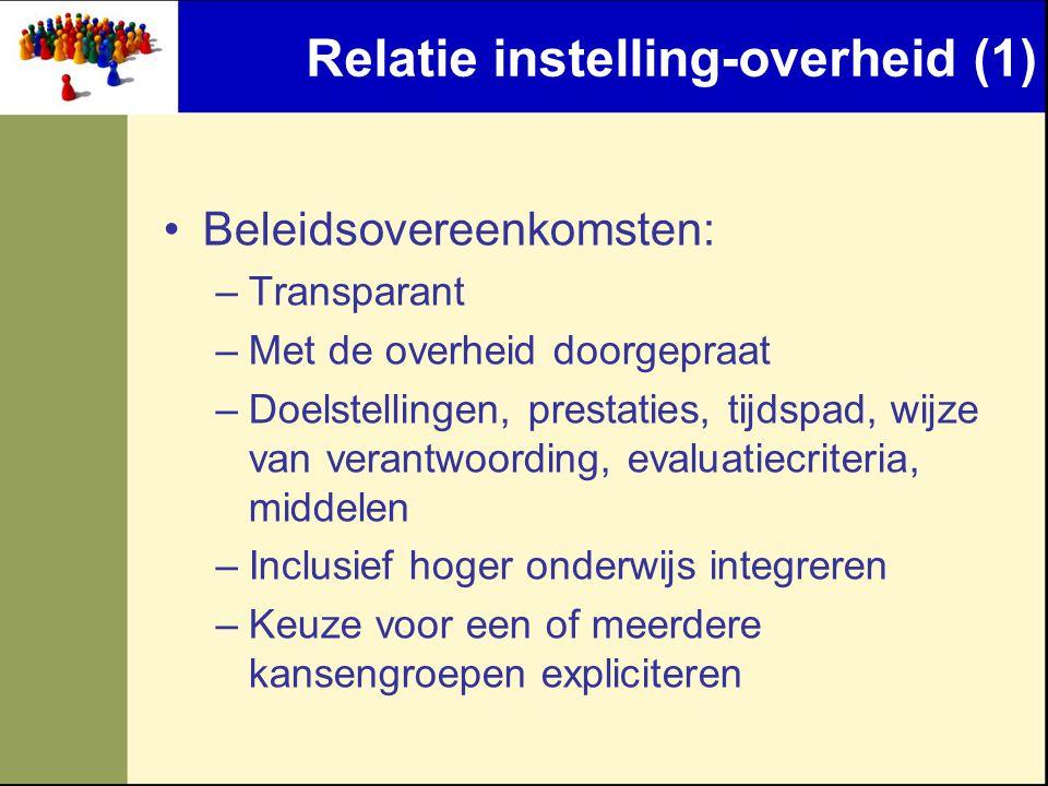 Relatie instelling-overheid (1)