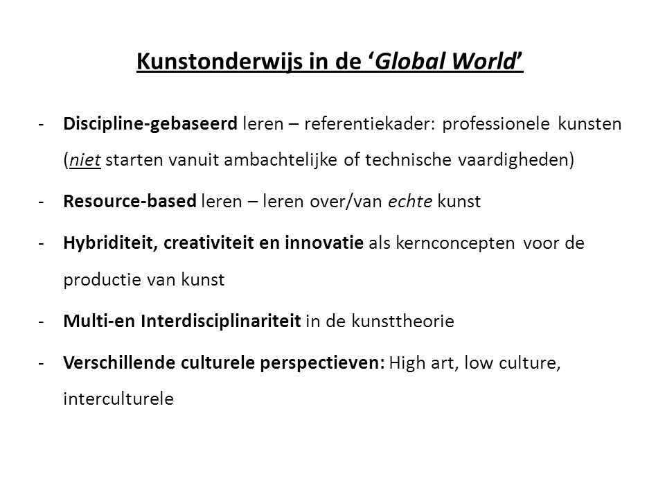 Kunstonderwijs in de 'Global World'