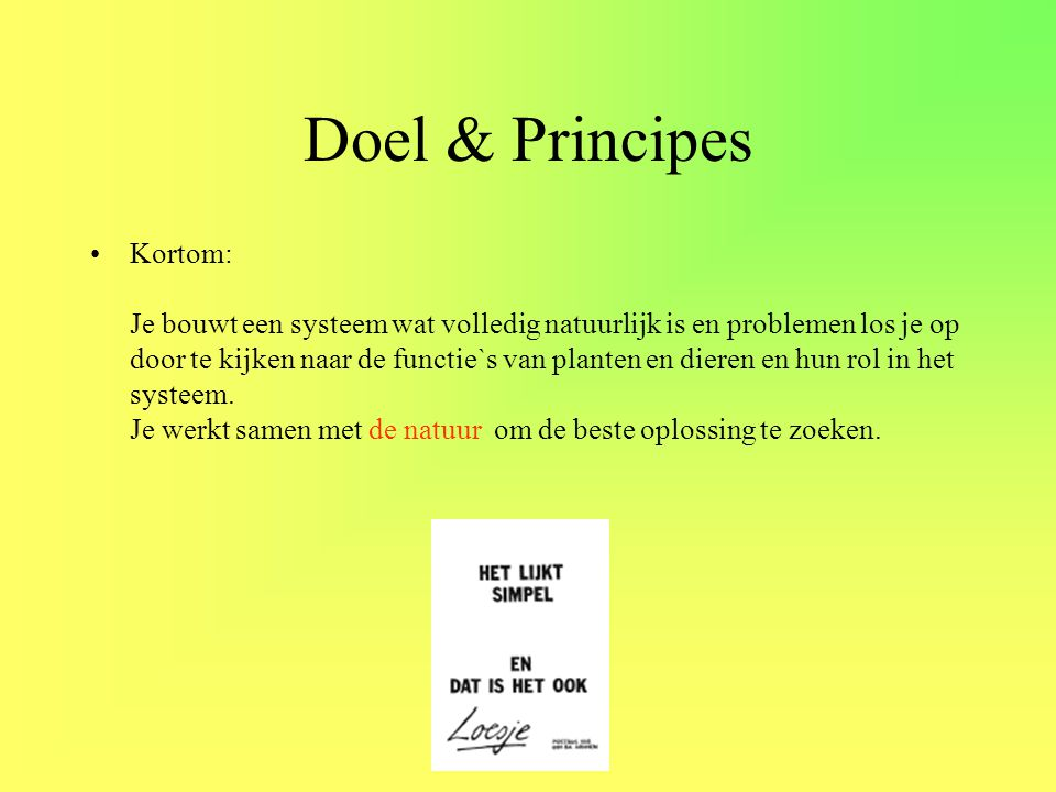 Doel & Principes