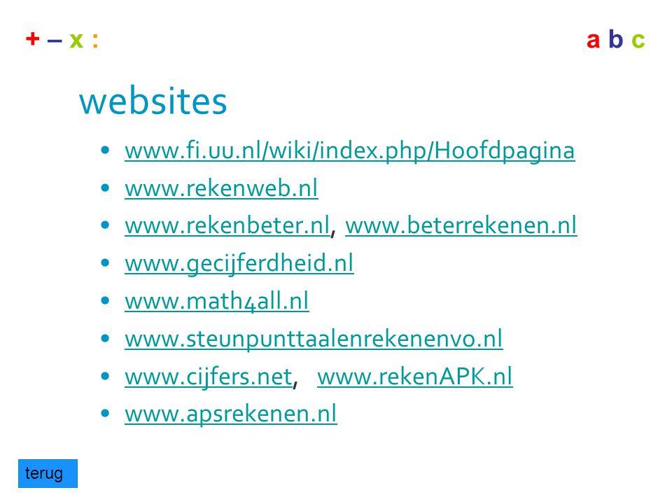 websites www.fi.uu.nl/wiki/index.php/Hoofdpagina www.rekenweb.nl