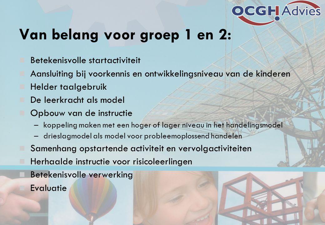 Van belang voor groep 1 en 2: