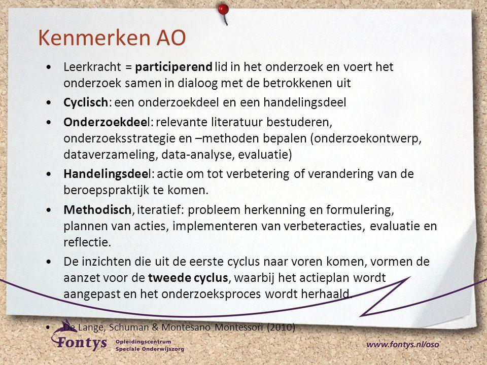 Kenmerken AO Leerkracht = participerend lid in het onderzoek en voert het onderzoek samen in dialoog met de betrokkenen uit.