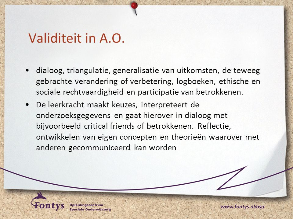 Validiteit in A.O.