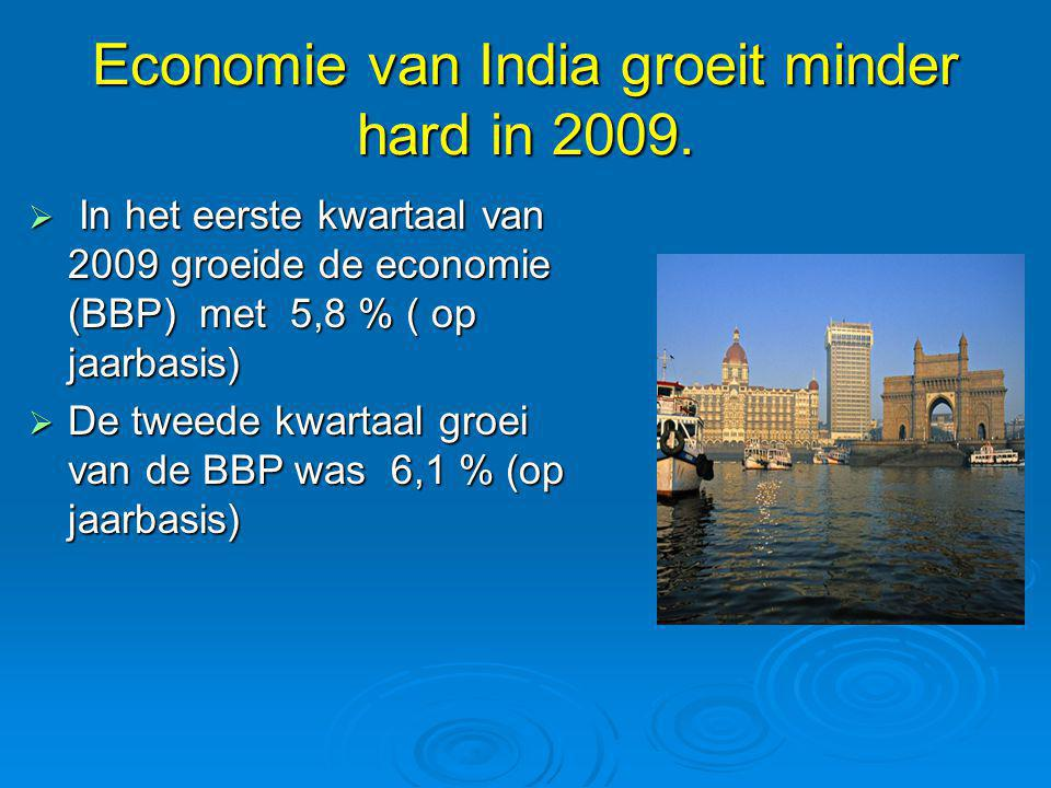 Economie van India groeit minder hard in 2009.