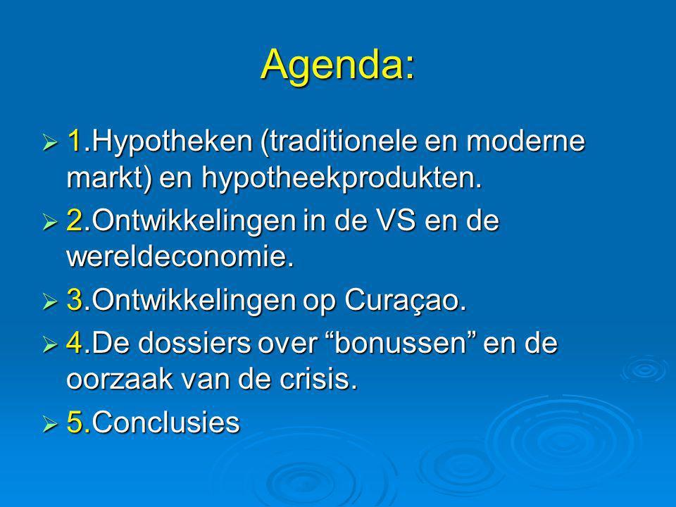 Agenda: 1.Hypotheken (traditionele en moderne markt) en hypotheekprodukten. 2.Ontwikkelingen in de VS en de wereldeconomie.