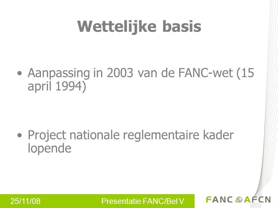 Wettelijke basis Aanpassing in 2003 van de FANC-wet (15 april 1994)