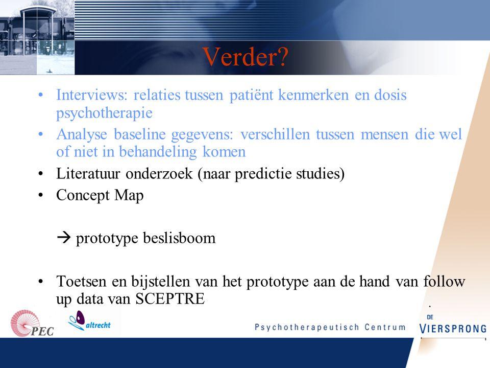 Verder Interviews: relaties tussen patiënt kenmerken en dosis psychotherapie.